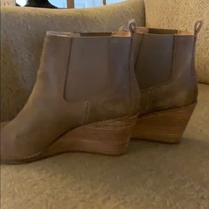 Suede wedge ankle boots. Comes in original box.